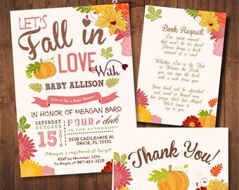 Fall Baby Shower Invitation Set. Little Pumpkin Baby Shower. DIY card. Digital Printable Pack