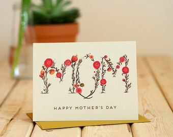 Mom Flowers - delicate Mother's Day greeting card / MOM-FLOWERS