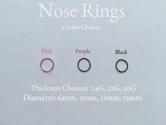 Punk nose ringe, Gothic nose ring,  Pink nose ring, Purple nose ring, Black nose ring, 20 gauge, 22 gauge, 24 gauge, Nose Hoops, nose rings
