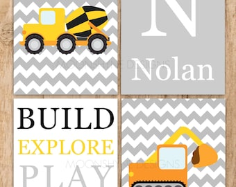 Construction 4 Piece Wall Art Set .Digital File PDF or JPEG file .Personalized with name .Bulldozer . Truck .Gray Yellow Orange . Little Boy
