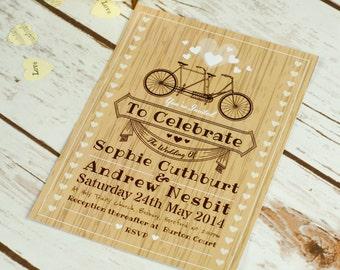 Rustic Romance Single Sided Wedding Invitation, rustic invitation, wood, wooden invitation, country wedding, tandem, romantic, hearts