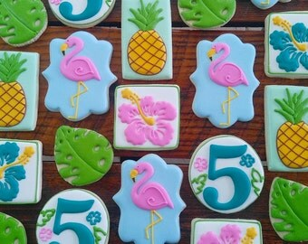 Luau decorated cookies