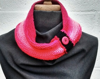 Ladies cowl scarf, hand knitted in raspberry, pink and black