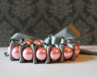 Pink Pearls with Charcoal Gray Ribbon Bracelet