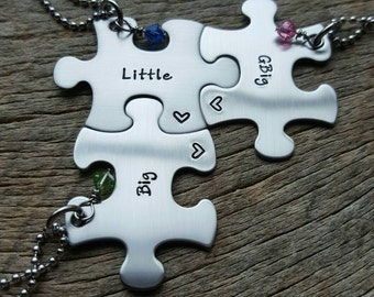 Personalized Hand Stamped set of 3 puzzle piece necklace set Gbig Big Litttle sorority sisters with stone