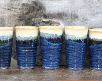 Stoneware tumblers, Ceramic pint glass, listing is for one of the glasses shown