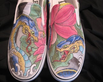 Custom Shoes, one of a kind Japanese snake and lotus design