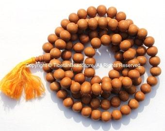 108 BEADS Tibetan Natural Sandalwood Mala Prayer Beads- 9-10mm Size Sandalwood Beads - Mala Making Supplies - PB98