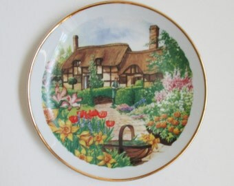 Vintage English Thatched Roof Cottage Plate Country Gardens Porcelain Sandwich Plate Wedding Gift Stoke on Trent England Tulips Home Decor