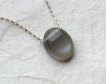 Grey Moonstone Necklace - Natural Moonstone Gold Filled or Sterling Silver Necklace - June Birthstone - Moonstone Jewelry