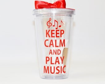 Teacher Gifts , Keep Calm and Play Music  - Teacher Gift - Custom - Personalize with Name