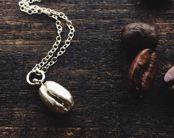 Coffee bean sterling silver necklace, coffee bean pendant - coffee necklace gift