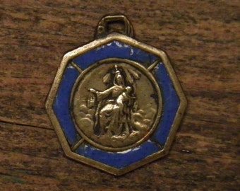 Antique bronze & enamel religious medal pendant our lady of Mount Carmel