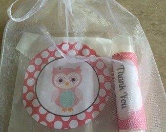 Girl baby shower favor / baby shower favor /Baby girl owl soap and lip balm favors /25 favors