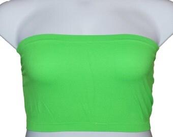 2 pcs Tube Top Strapless Bras Plus Size Seamless Bandeau Green Free Shipping
