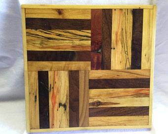 Wood Art, Wall Art Wood, black walnut, cedar, flame box elder, spalted maple, center piece, centerpiece, stand, base, display, hand made