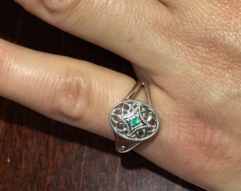 emerald sterling silver filigree ring