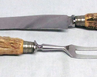 Vintage Brown And Bigelow Solingen Stag Horn Carving Knife Set