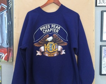 Vintage Blue Harley Davidson Pikes Peak Owner's Group Sweatshirt 1988 Colorado Springs