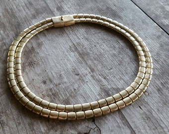 Les Bernard Two Strand Textured Gold Tone Necklace