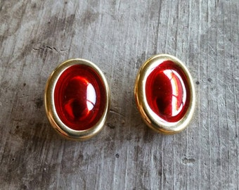 Retro Red and Gold Clip On Earrings