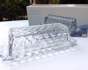 Vintage crystal glass covered butter dish server two pieces Indiana Glass American Whitehall with original box 1980's 7.75 inches