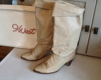 9West Taupe Slouch Boots with fold-over cuff and metal toe detail