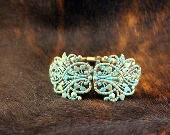 Turquoise Filigree Hinge Bracelet