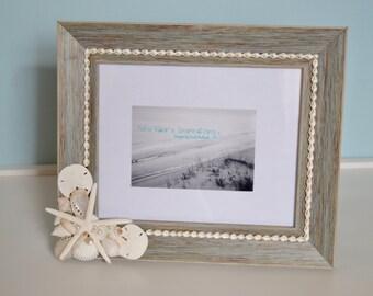 Seashell Frame, Beach Decor, Nautical White Shell Frame- 8x10