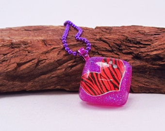 Red Heart Pink Square Pendant, Zebra Stripes, Anodized Purple Ball Chain, Resin Pendant, Free Shipping to a US Location