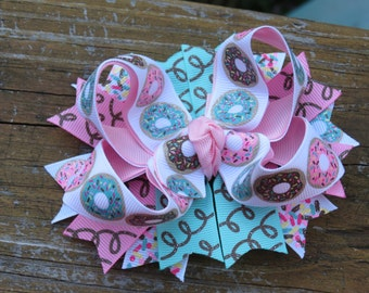 Donut Hairbow, Boutique bow, little girl, photo prop, breakfast bow, photo prop, pink and blue