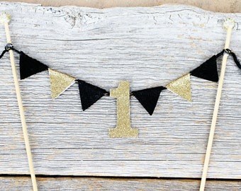 1st Birthday Black and Gold Cake Bunting - Mr. Onderful Cake Topper - Wild One Cake Topper