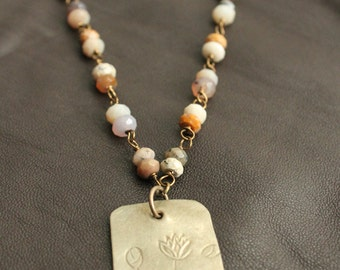Thai White Brass Floral Tag and Plum Agate Beaded Necklace