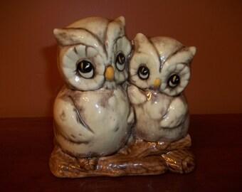 Owl Planter - Ceramic Owl Planter - Double Owl Planter - Vintage Owl Planter
