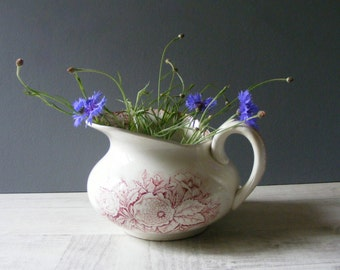 Antique French Wash Pitcher,Red Transferware, with a pattern of flowers.Saint  Amand.