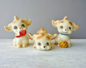 Little Vintage Ceramic Dog Figurines - Set of 3, Retro, Cute, Kitsch, Ornaments, Puppy, Animal,