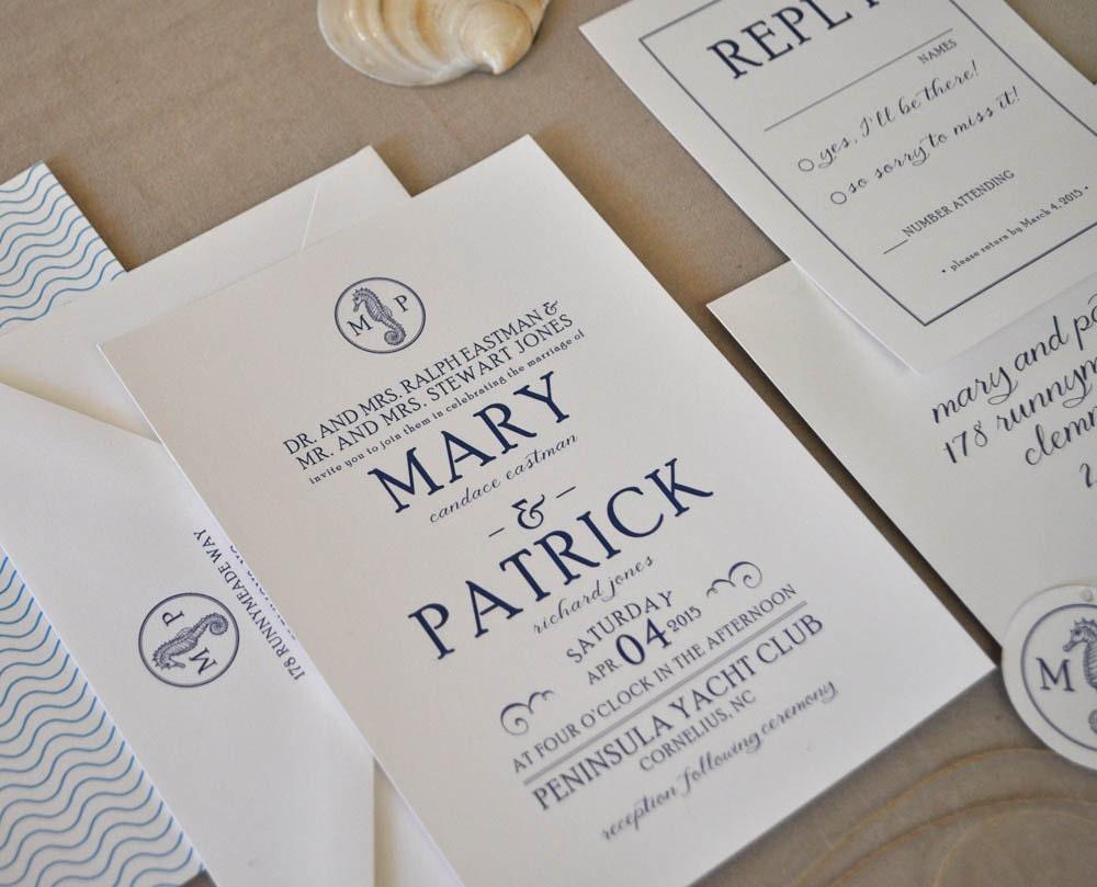 Seahorse Wedding Invitation, Beach Wedding, Nautical Wedding ...
