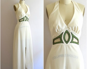 70s Backless Maxi Dress/ Mod Cut Out Halter Dress/ Off White Prom Special Occasion Dress/ Woman's Size Small