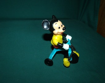 """Vintage """"Walt Disney"""" Plastic Toy - Mickey Riding a Tricycle - 1970's"""