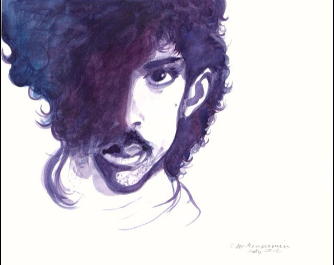 PRINCE-Artist Camille McMennamin numbered and signed print of music legend Prince in purple. Framing also  available.