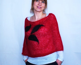 Hand Knitted Kid Mohair Red Poncho with Felted Black Leaves, Kid Mohair and Silk Poncho