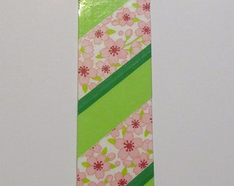 Bookmark - OoaK - Sakura in pink and green