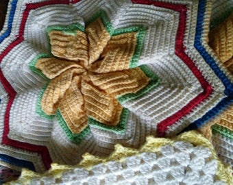 4 Vintage 1950's Retro Potholders Crocheted Quilted Red Yellow Blue Country Cottage Chic Craft or Upcycle