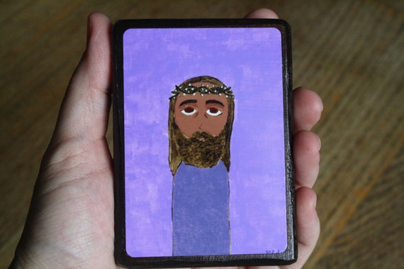 """2.5"""" X 3.5"""" Jesus Crowning of Thorns Byzantine Folk style icon on wood by DL Sayles"""