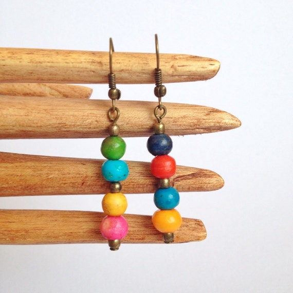 Ethical Rainbow Dangle Earrings
