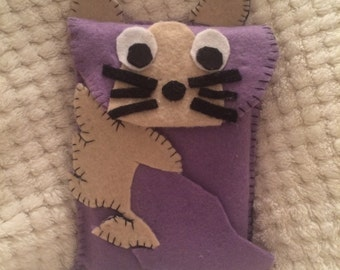 NEW Purple Cat Bushy Tail 3ds XL case. Handmade from felt -other sizes available