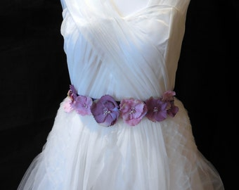 A Purple & Rose Pink Rhinestones beads floral bridal wedding ribbon sash belt for sale.Perfect for weddings and parties.