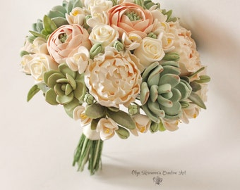 Alternative wedding bouquet Keepsake Wedding bouquet Peach Blush peonies Green Succulents Bridal bouquet Clay flowers bridal bouquet