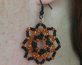 Halloween Black and Orange Flower Earrings