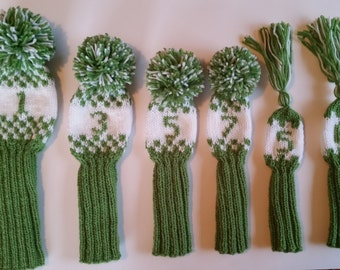 Set of 6 Hand knit Retro Headcovers Black and Whtie